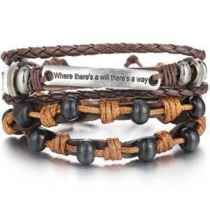 2-Piece Bracelet Set with Decorative Plaque