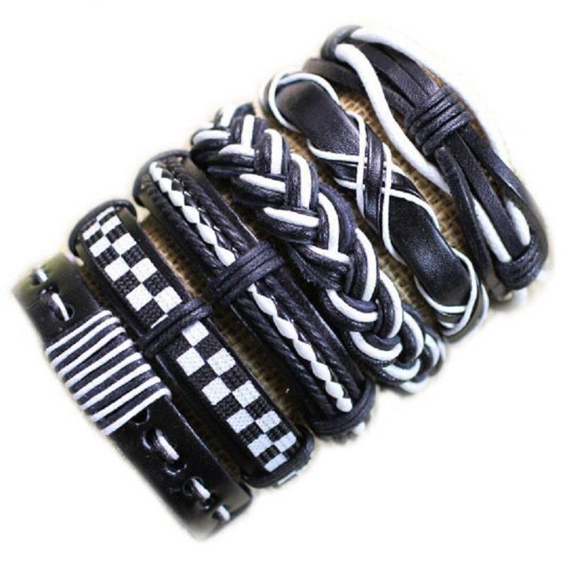 6-Piece Black and White Lace Up Bracelet Set