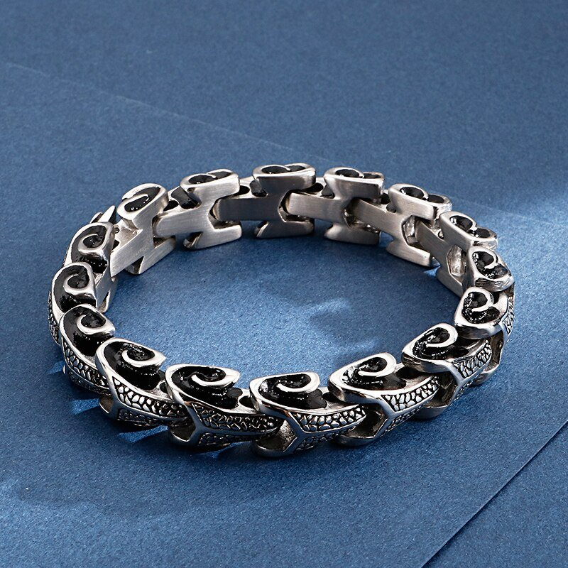Stainless Steel Bracelet with Dragon Scale Shaped Links