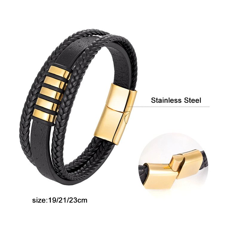 Multilayer Black Leather Bracelet with Stainless Steel Magnetic Clasp
