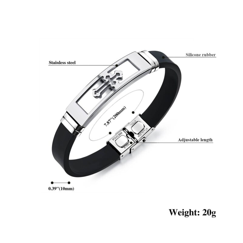 Men's Silicone Rubber Bracelet with Stainless Steel Buckle