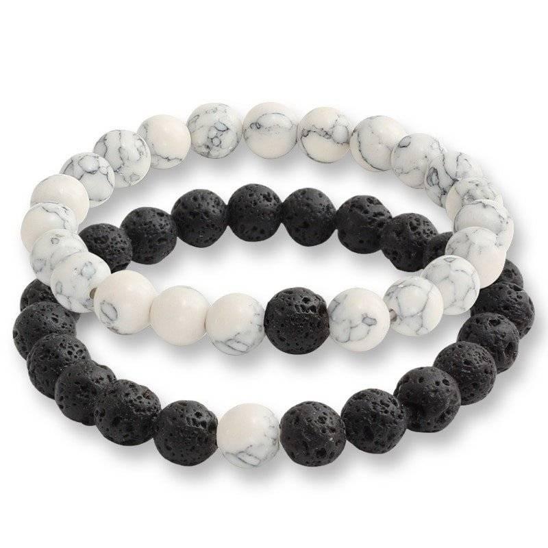 2-Piece Natural Stone Bracelet Set for Couples
