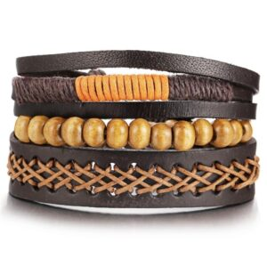 3-Piece Bracelet Set in Brown Orange Tones