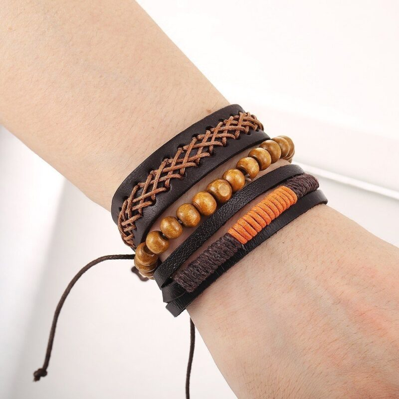 3 piece bracelet set in brown orange tones 7
