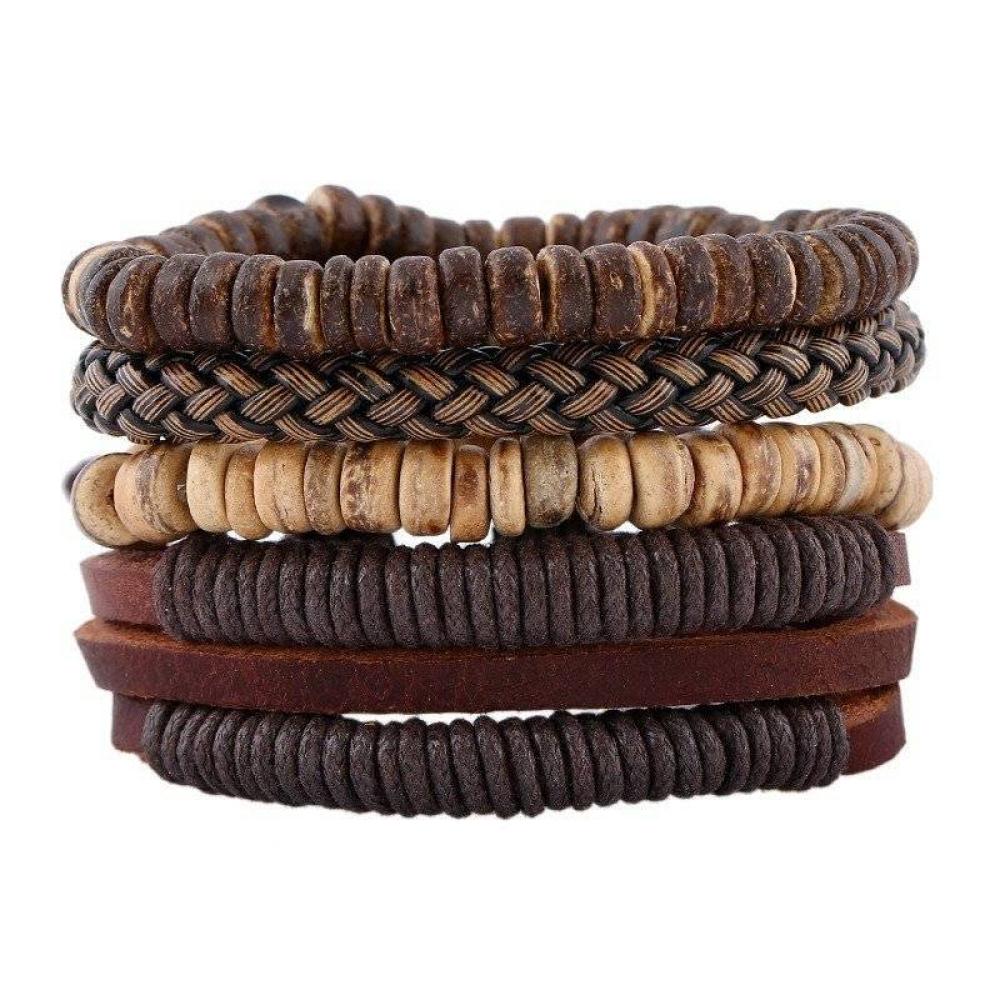 4-Piece Bracelet Set in Natural Brown Color Tones