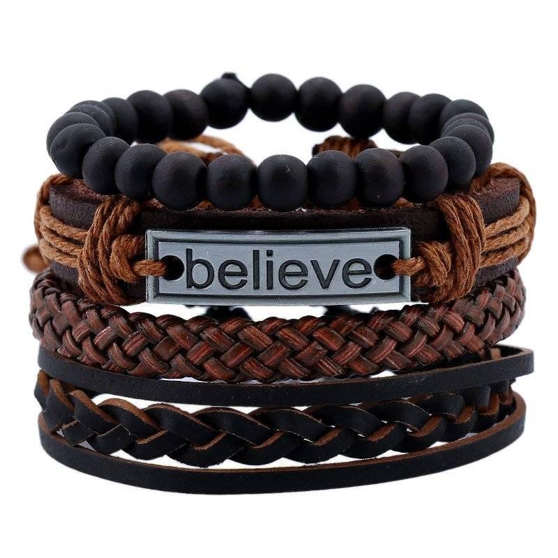 4-Piece Bracelet Set with Believe Metal Plaque