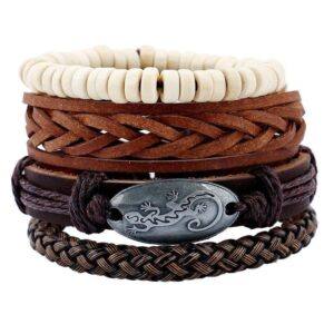 4-Piece Bracelet Set with Gecko Plaque