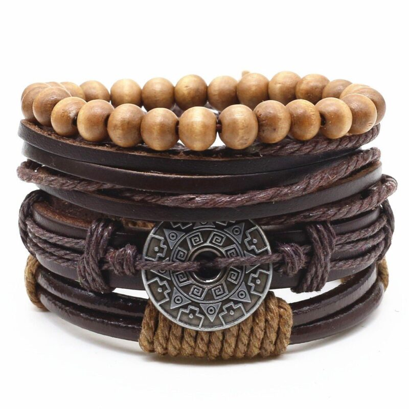 4 piece brown toned bracelet set with decorative charms 2