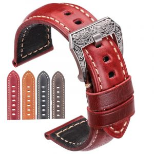 Genuine Leather Watch Band with Ornamented Buckle