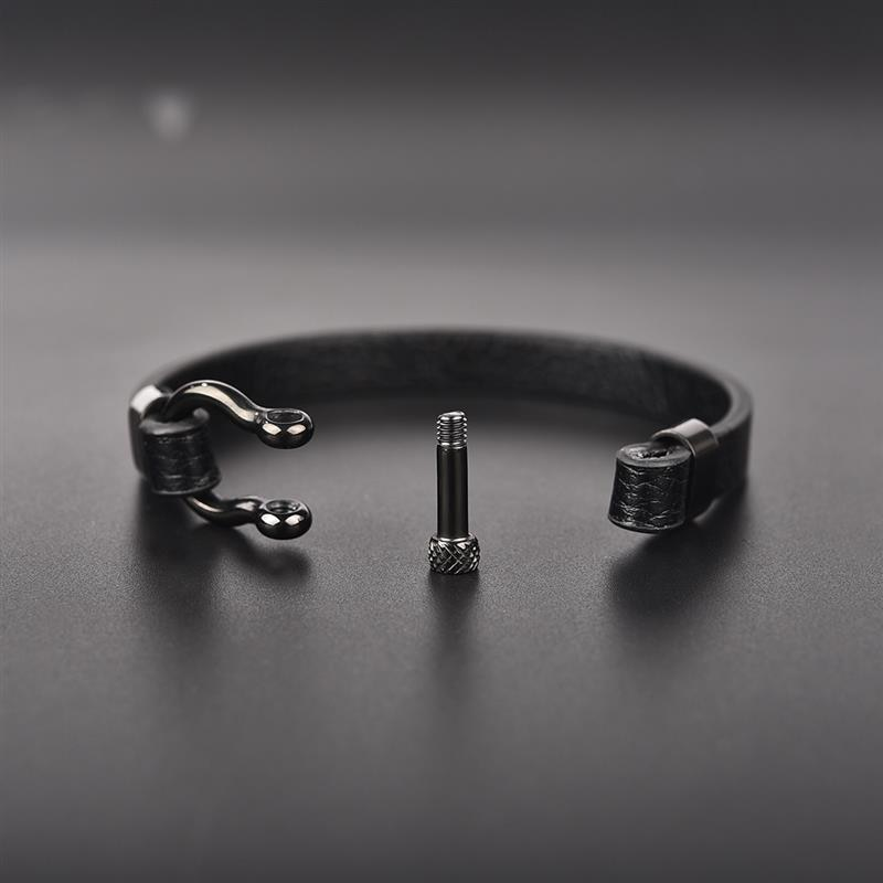 Men's Simple Leather Bracelet with Horseshoe Buckle
