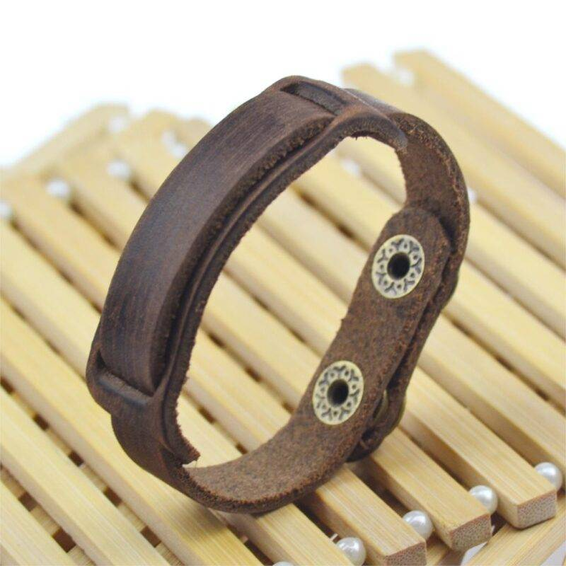Men's Simple Leather Bracelet with Snap Button Clasp
