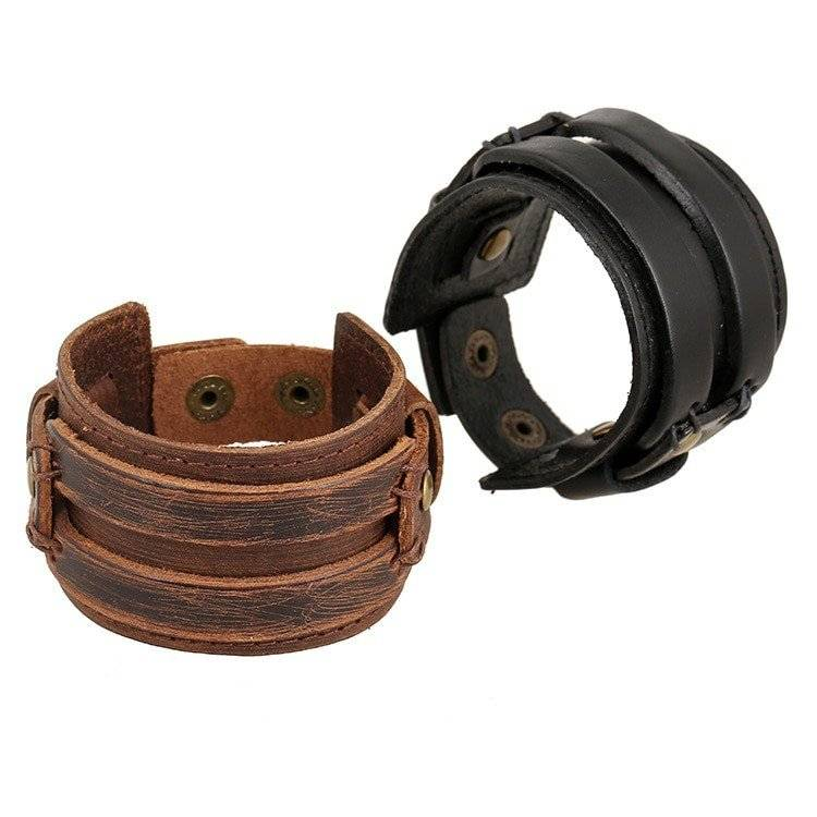 Men S Wide Leather Bracelet With Snap On Clasp Band And Bracelets