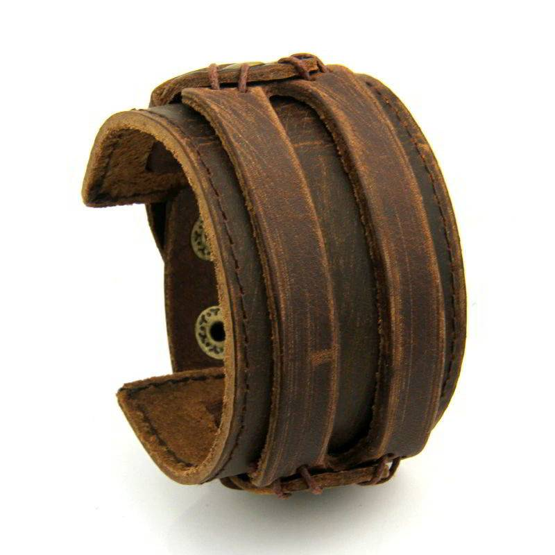 Men S Wide Leather Bracelet With Snap On Clasp