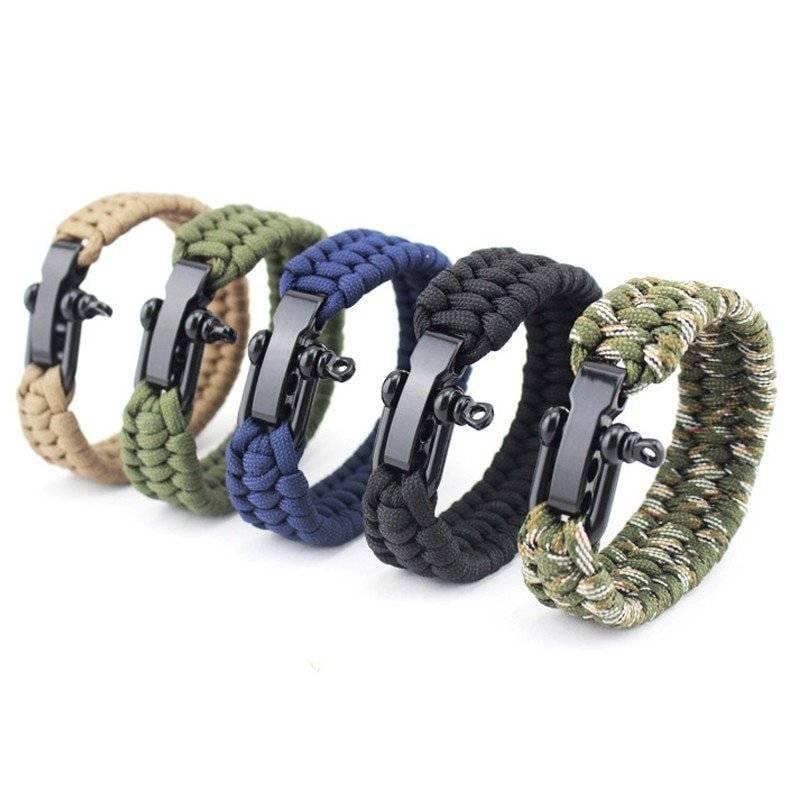Survivalist Paracord Rope Bracelet with Metal Horseshoe Buckle