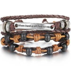 2 piece bracelet set with decorative plaque
