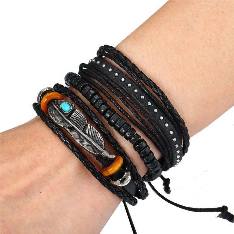 3 piece bracelet set with feather charm 3
