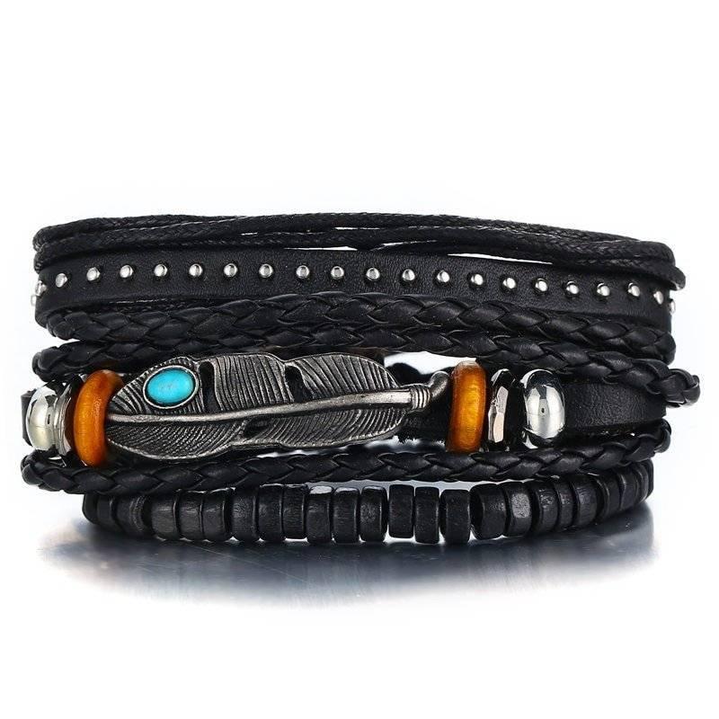 3-Piece Bracelet Set with Feather Charm - Black