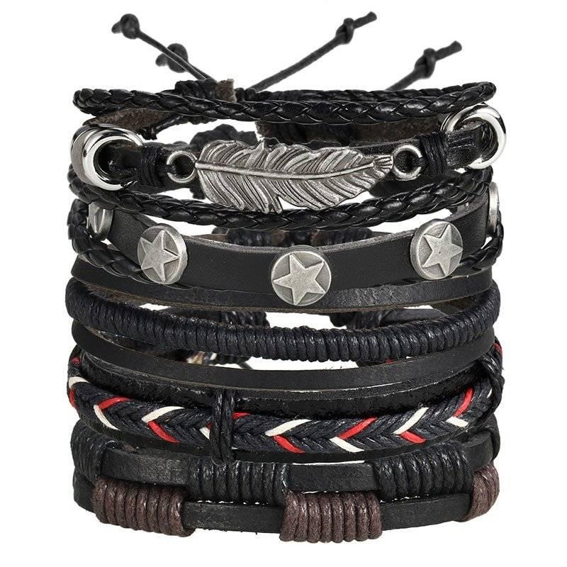 5-Piece Bracelet Set with Decorative Charms - Black 1