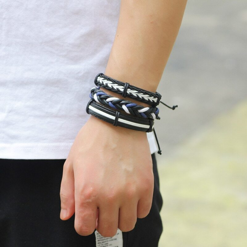 6-Piece Black and White Lace Up Bracelet Set