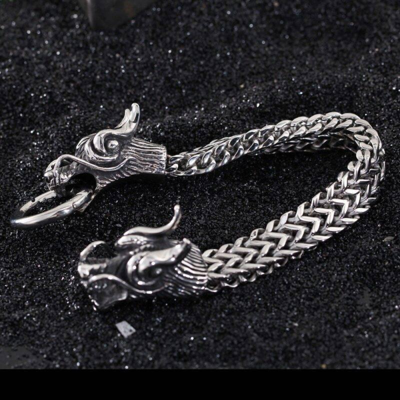 Stainless Steel Dragon Head Bracelet for Men