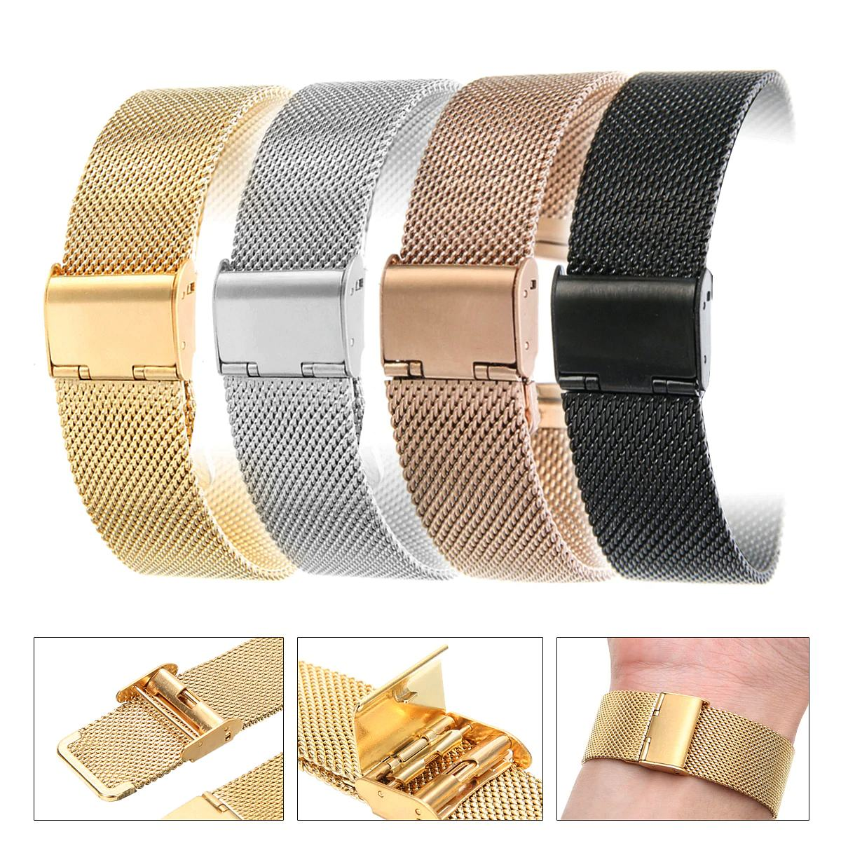 Stainless Steel Mesh Watch Band with Adjustable Clasp 30