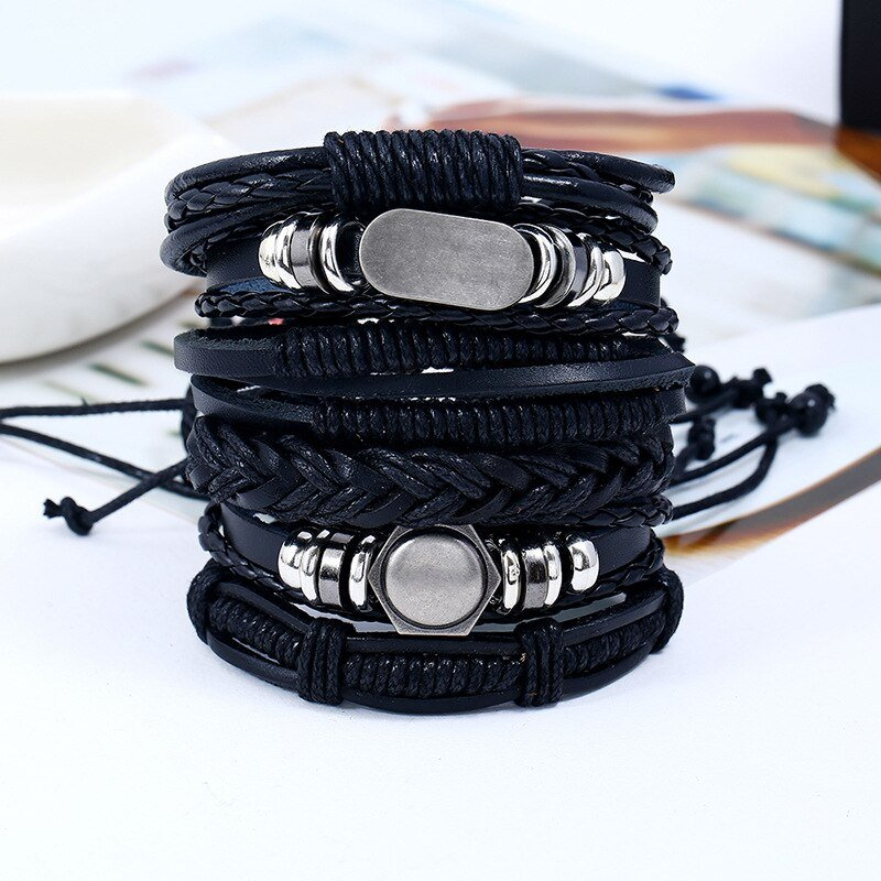 6-Piece Bracelet Set with Decorative Metal Plaques