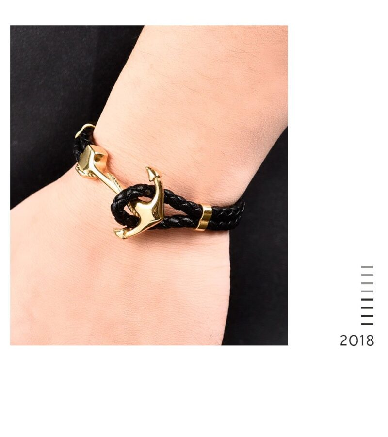 Braided Leather Bracelet with Anchor Hook