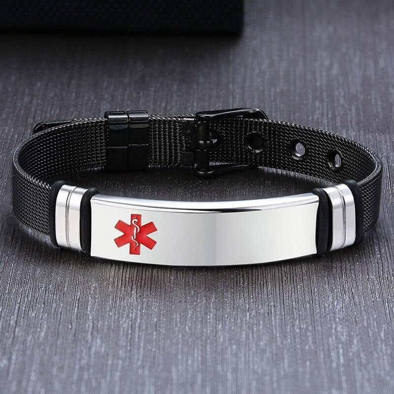Stylish Medical Alert Bracelet with Adjustable Pin Buckle - BR-522BS