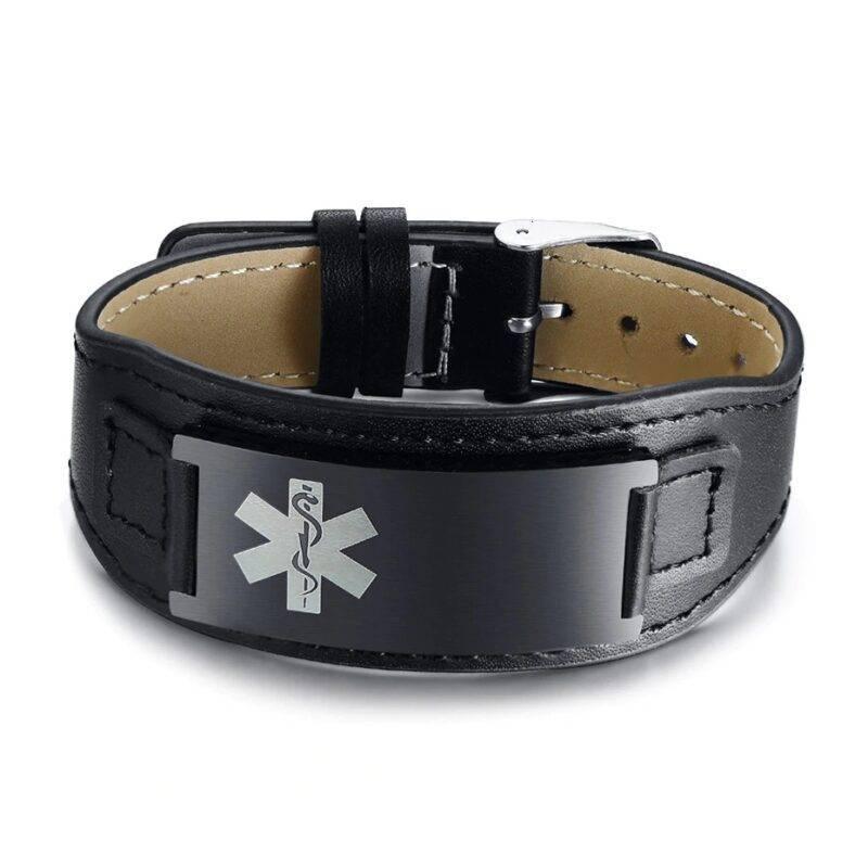 Wide Leather Medical ID Bracelet for Men