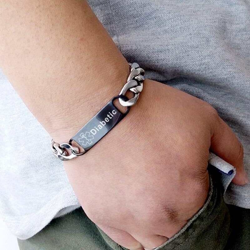 Cuban Link Chain Diabetic Medical ID Bracelet