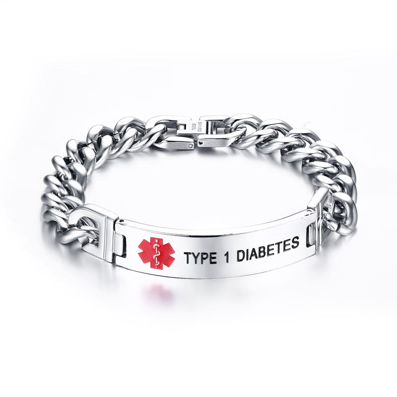 Engraved Stainless Steel Type 1 Diabetes Bracelet - TYPE 1 DIABETES