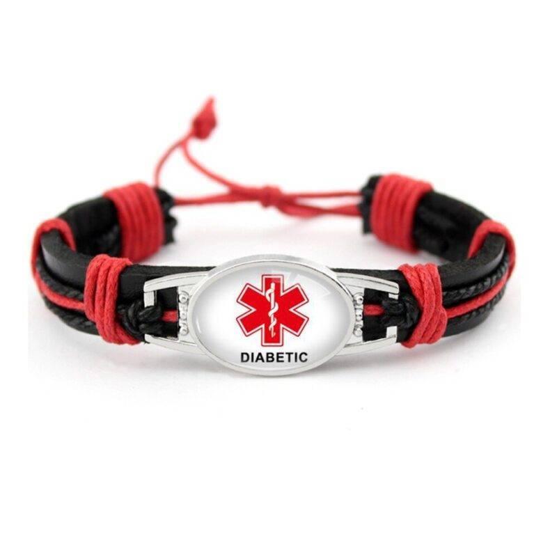 Glass Cabochon Diabetic Medical Alert Bracelet