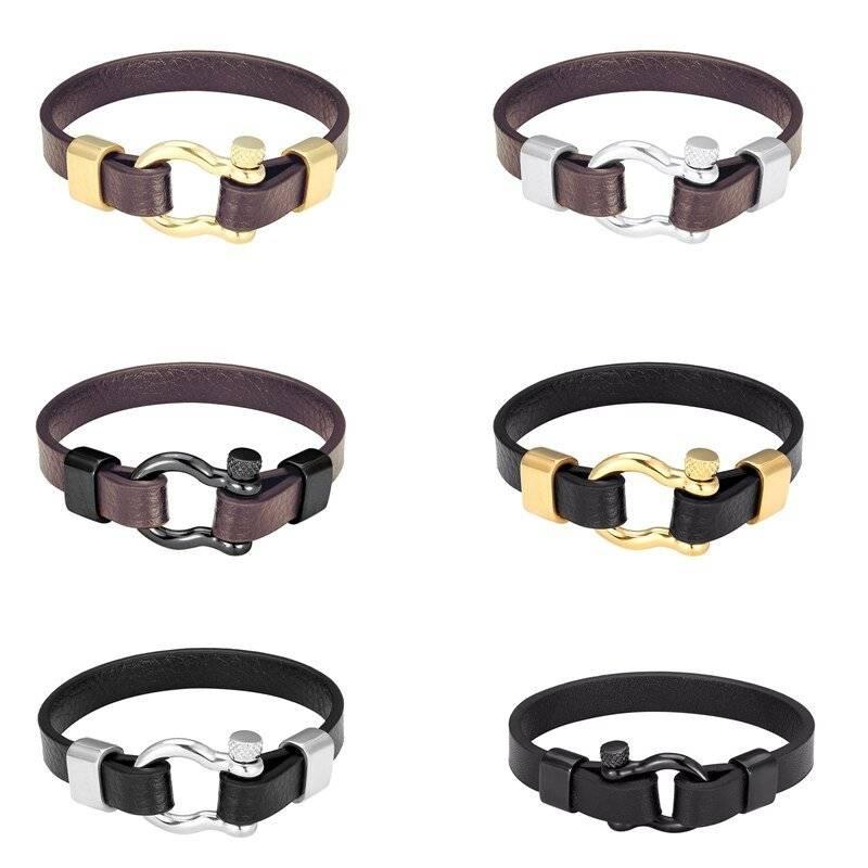 Men's Simple Leather Bracelet with Horseshoe Buckle