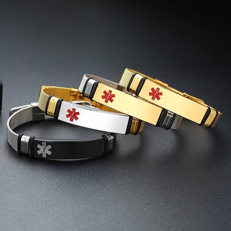 Stainless Steel Mesh Engravable Medical ID Bracelet