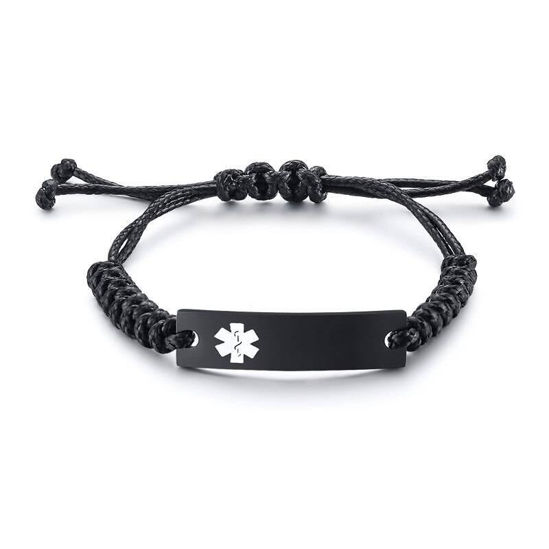 Wax Rope Easy Adjustable Medical Bracelet - Black Plaque / Silver Symbol