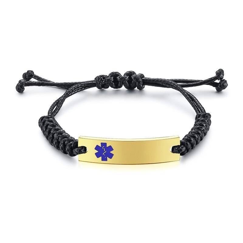 Wax Rope Easy Adjustable Medical Bracelet - BR472GLMed