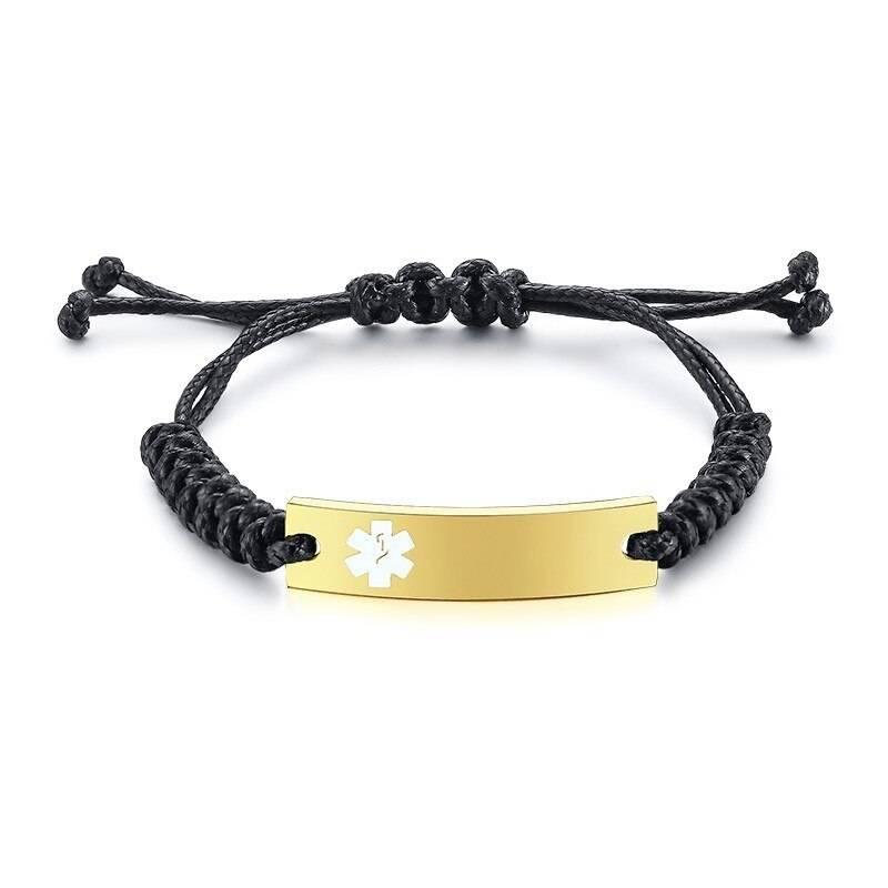 Wax Rope Easy Adjustable Medical Bracelet - BR472GWMed