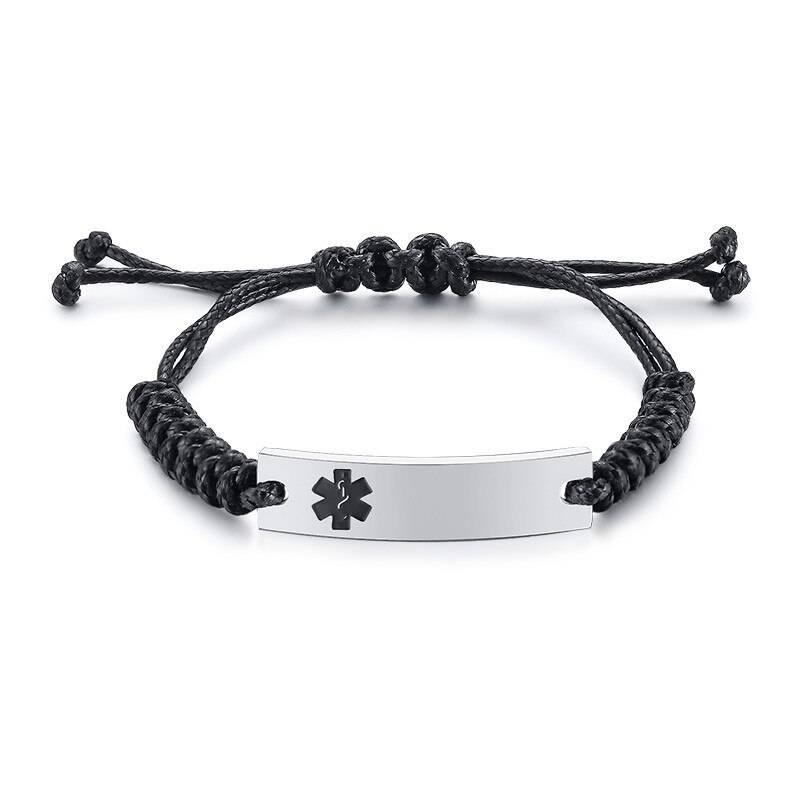 Wax Rope Easy Adjustable Medical Bracelet - BR472SBMed