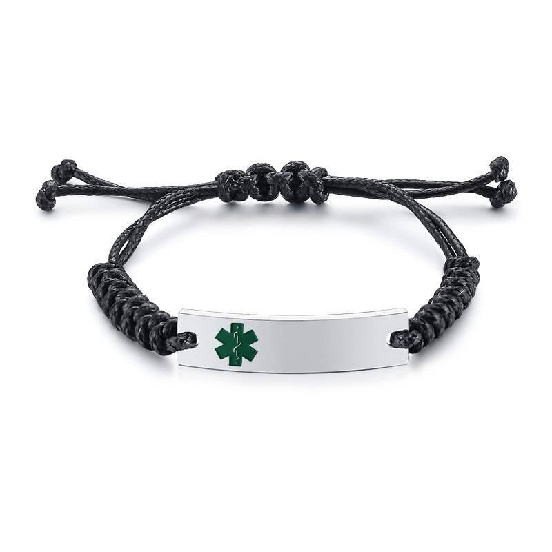 Wax Rope Easy Adjustable Medical Bracelet - BR472SGMed