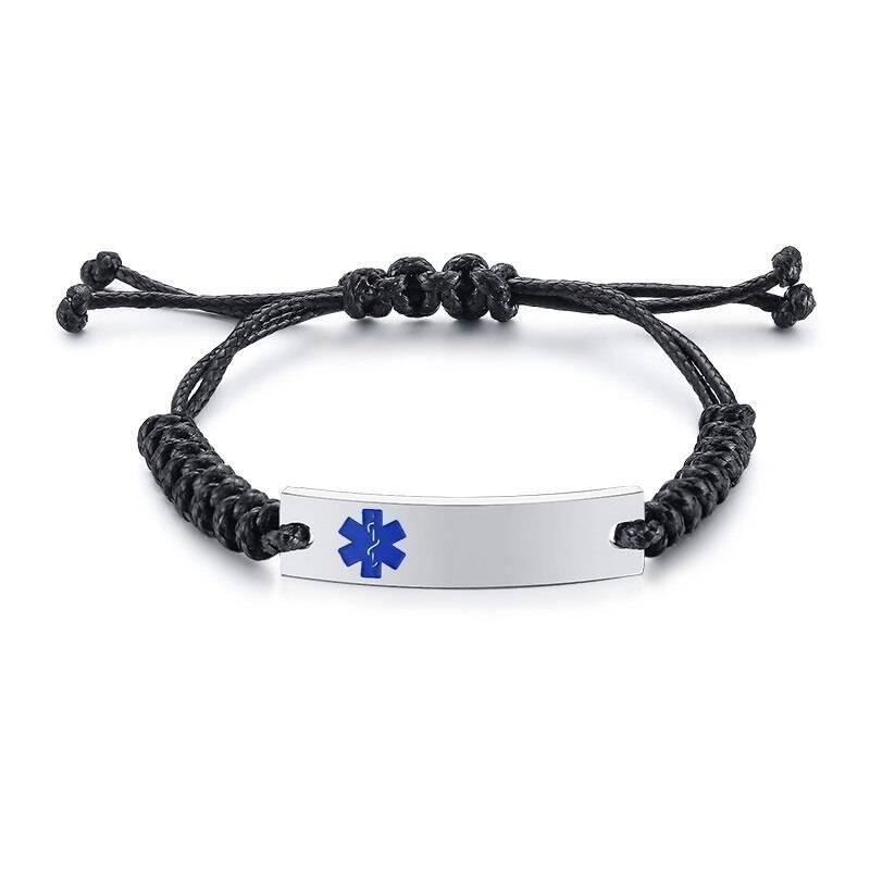 Wax Rope Easy Adjustable Medical Bracelet - BR472SLMed