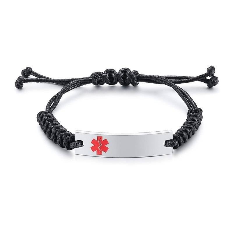 Wax Rope Easy Adjustable Medical Bracelet - Silver Plaque / Red Symbol