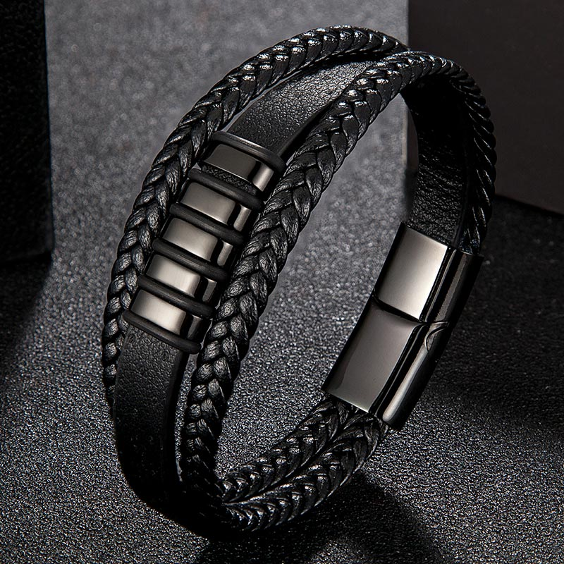 Multilayer Black Leather Bracelet with Stainless Steel Magnetic Clasp - Black, 19cm